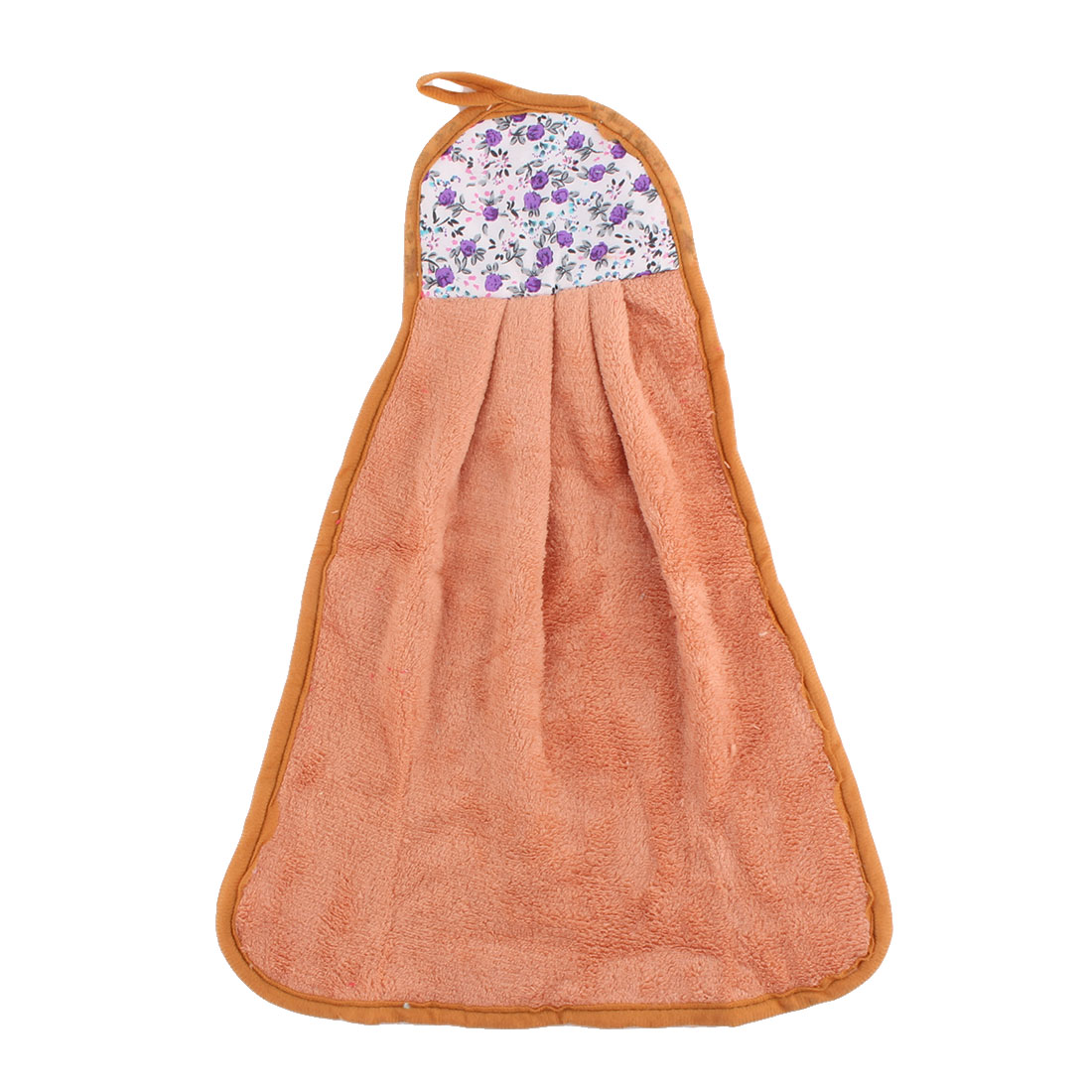 Home Kitchen Coral Velvet Floral Pattern Wall Hanging Hand Drying Towel Brown