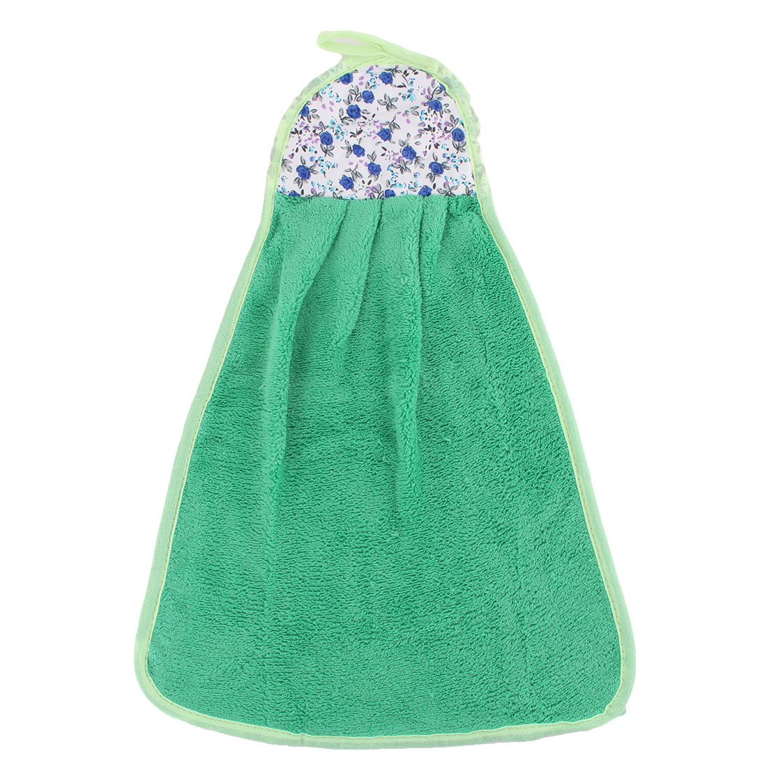 Home Kitchen Coral Velvet Floral Pattern Wall Hanging Hand Drying Towel Green