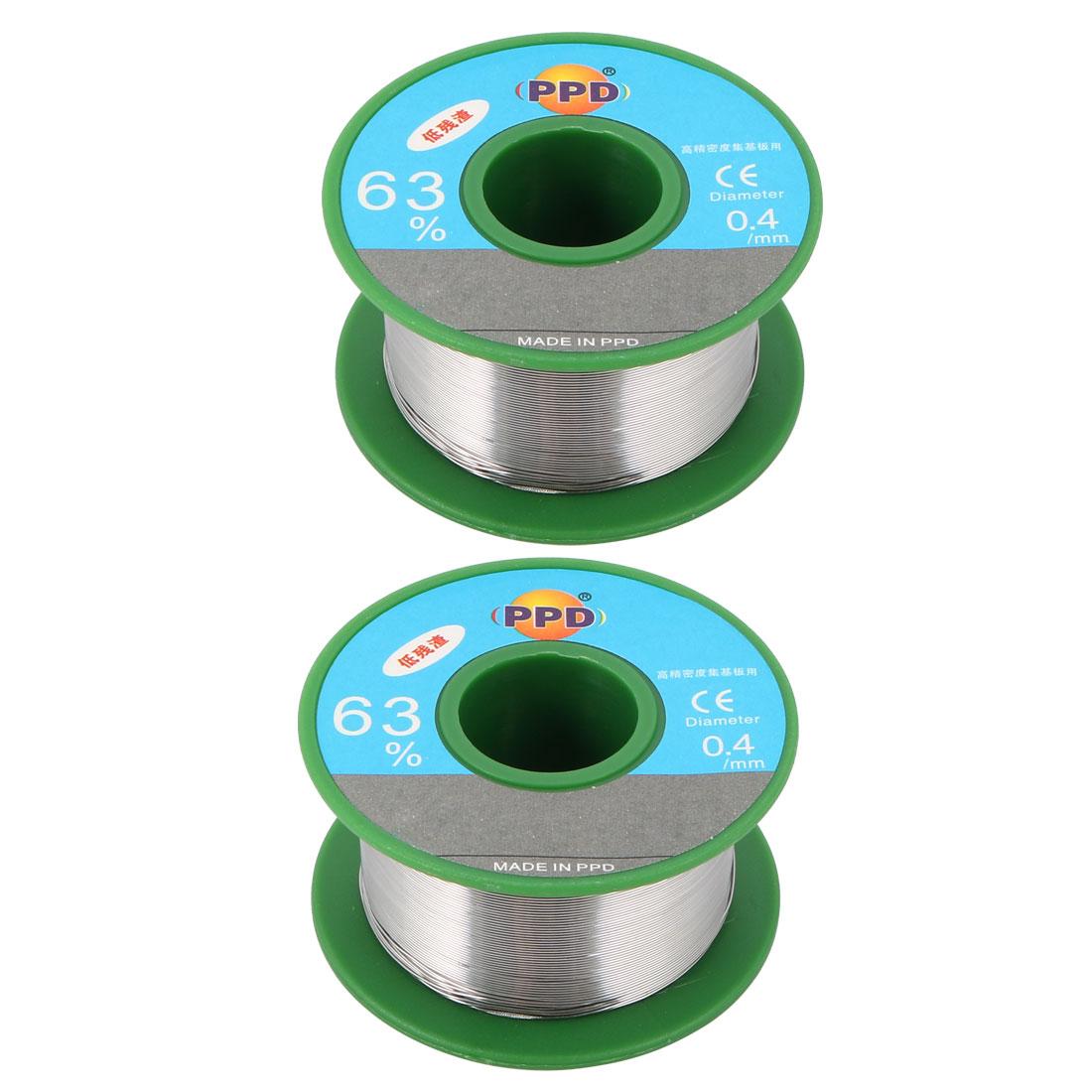 2Pcs 0.4 mm Dia 63/37 Tin Lead Welding Soldering Solder Wire Rosin Core Reel