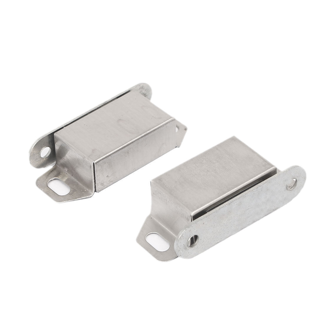 Bedroom Bathroom Door Magnetic Catch Latch Silver Tone 48mmx20mmx12mm 2pcs