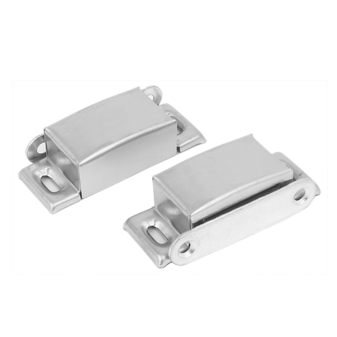Bedroom Door Magnetic Metal Shell Catch Latch Silver Tone 65mmx26mmx18mm 2pcs