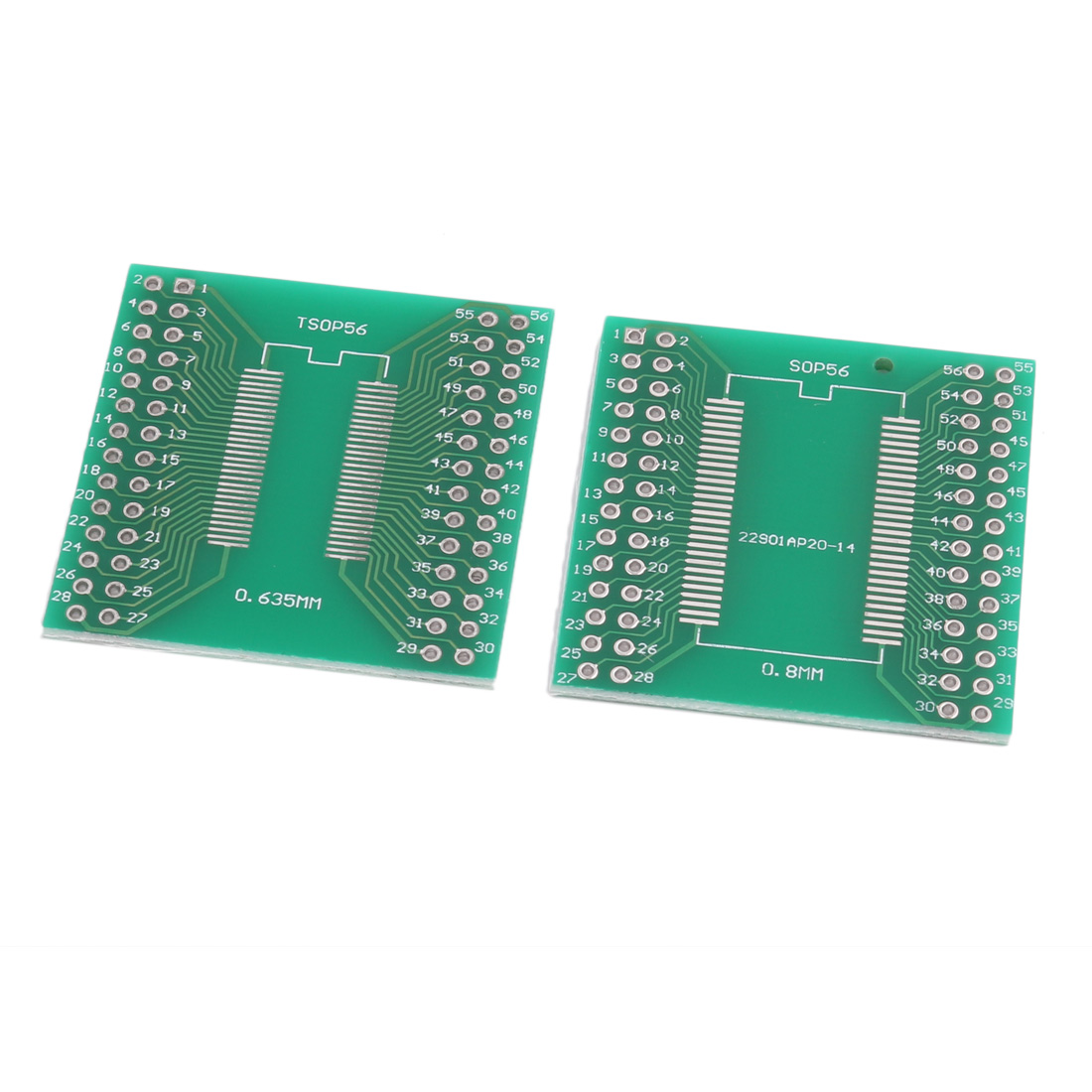 2Pcs Prototyping Double Side PCB Board Stripboard Green 37x36mm SOP56