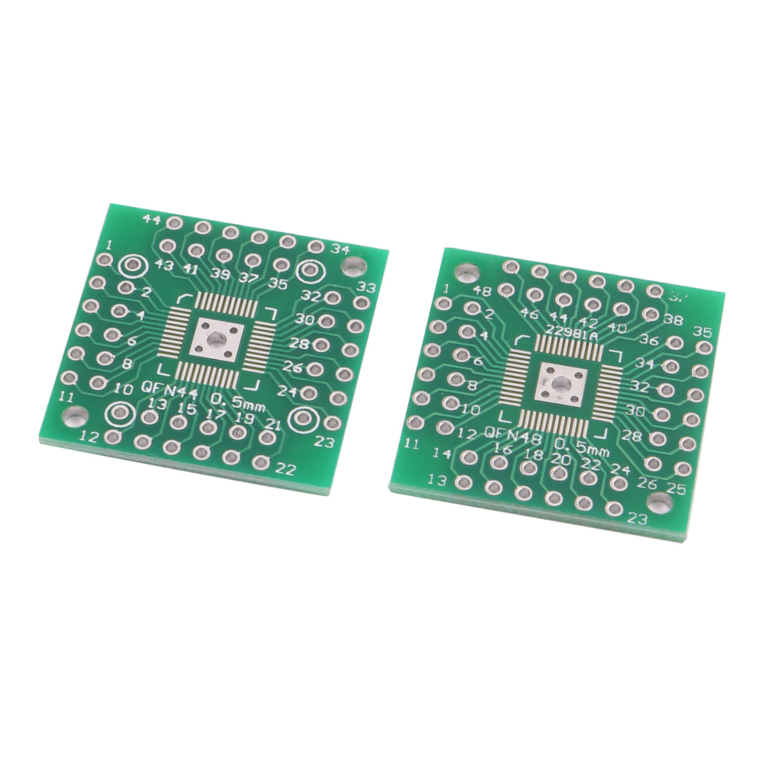 2Pcs Prototyping Double Side PCB Board Stripboard Green 25x25mm QFN48