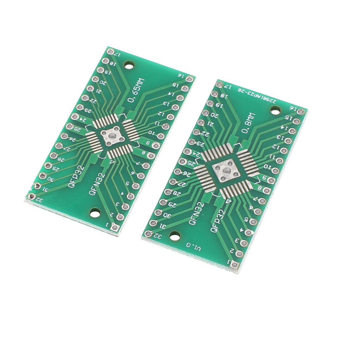 2Pcs Prototyping Double Side PCB Board Stripboard Green 20x24mm QFN32