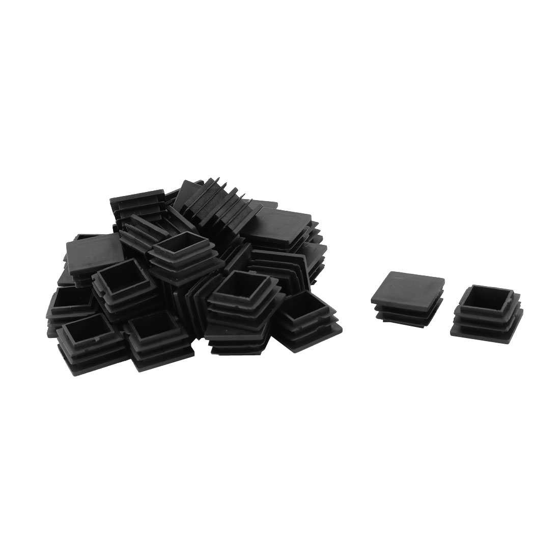 Furniture Square Shaped Table Feet Cover Tube Insert Black 30mm x 30mm 36pcs