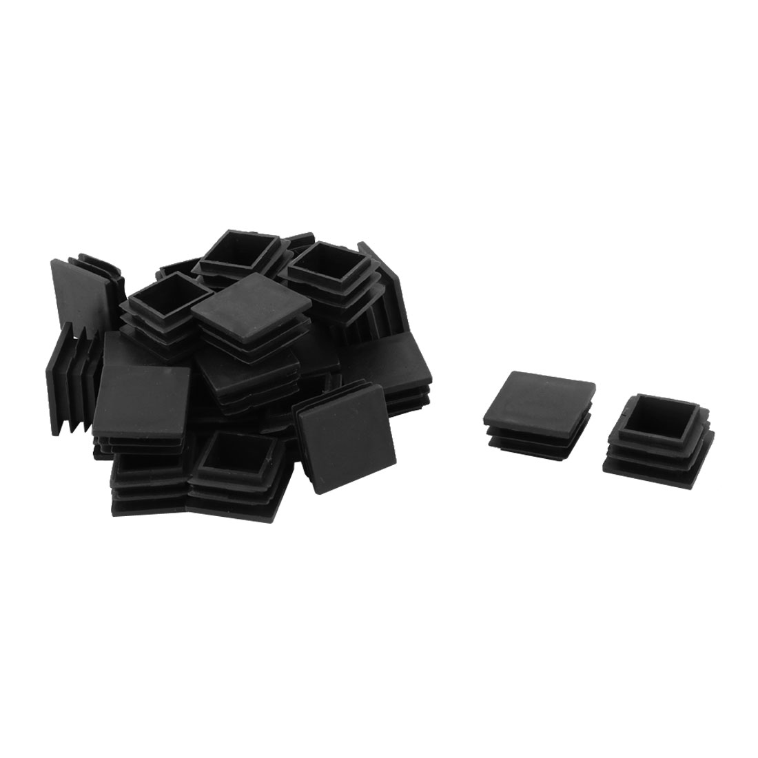 Home Furniture Plastic Square Shaped Feet Protector Caps Tube Insert Black 28pcs