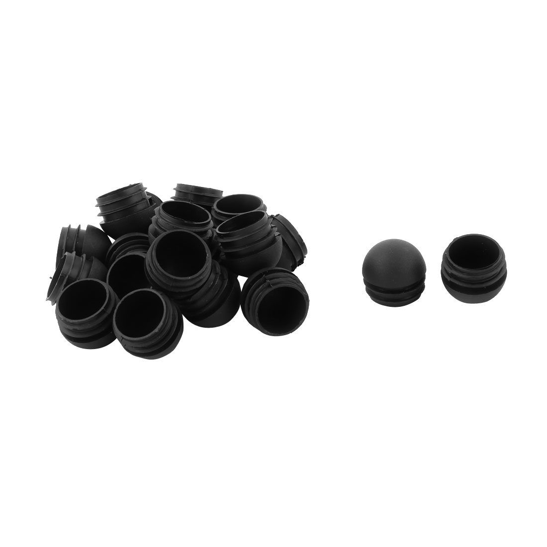 Plastic Round Shaped Furniture Feet Tube Insert End Cap Black 32mm Dia 20pcs