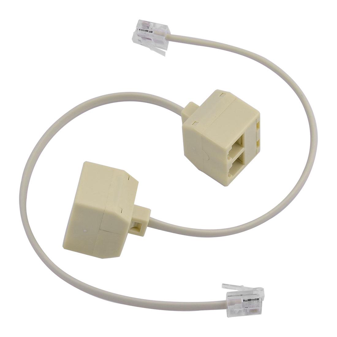 Plastic RJ11 6P4C Double Holes Female Telephone Wire Cable Inline Splitter 2pcs