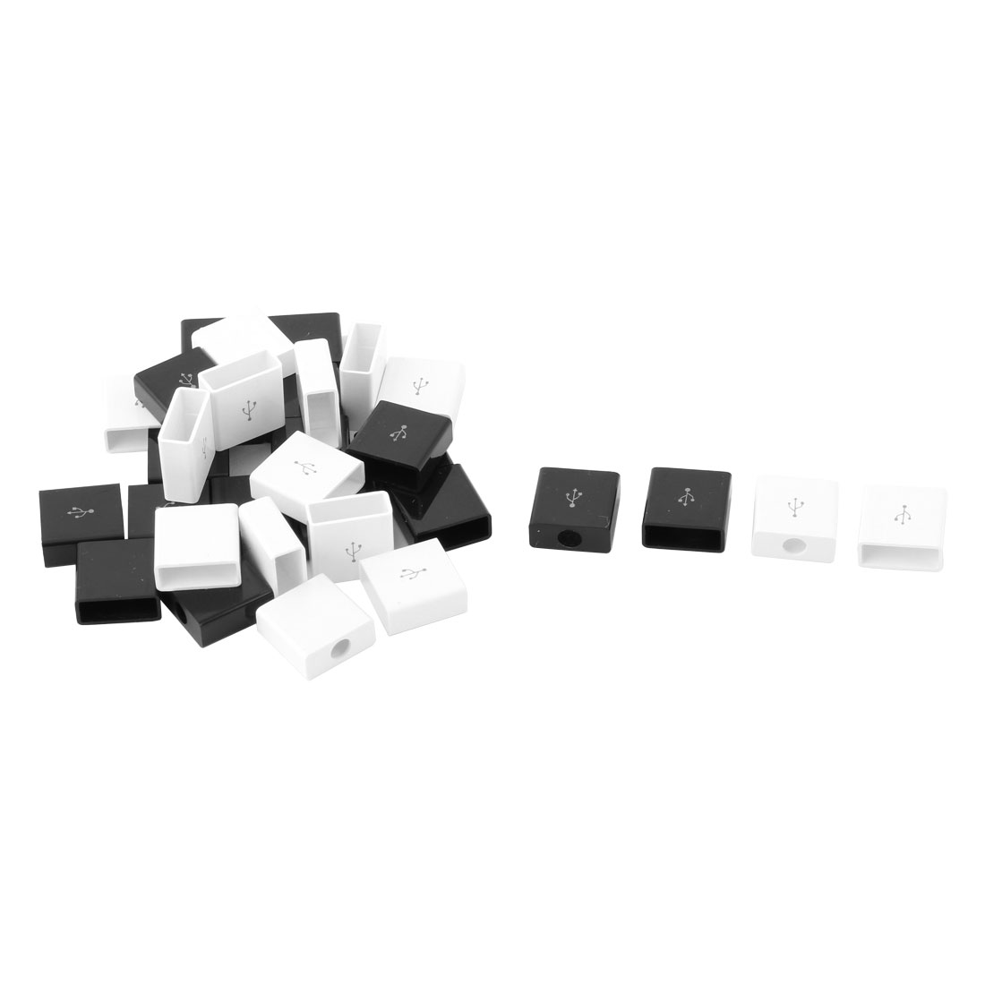 Plastic Rectangle Cover USB Connector Port Shell Parts Black and White 13x13x5mm 30pcs