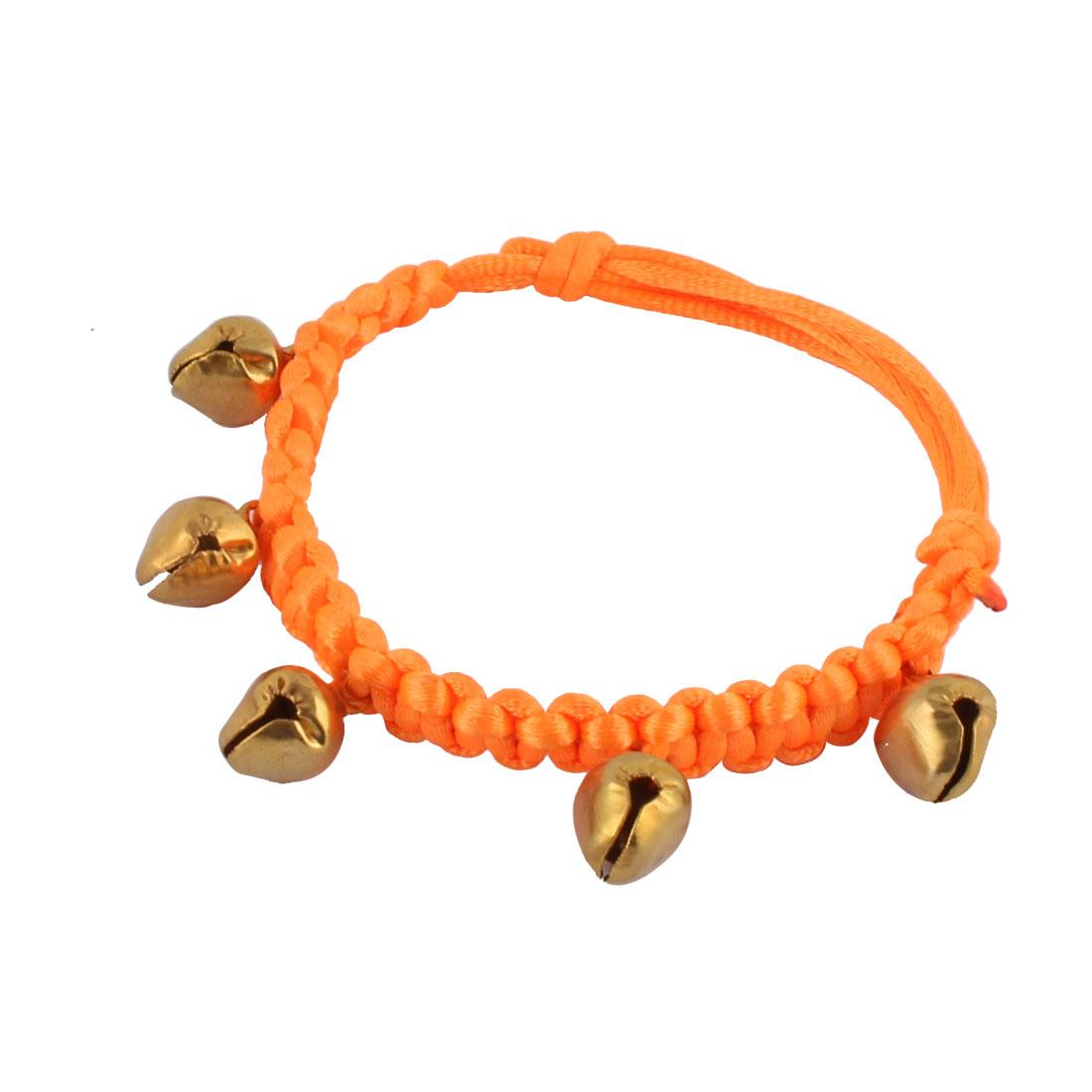 Pet Dog Nylon Braided Rope Strap Bell Pendant Decor Adjustable Belt Handmade Necklace Collar Bracelet