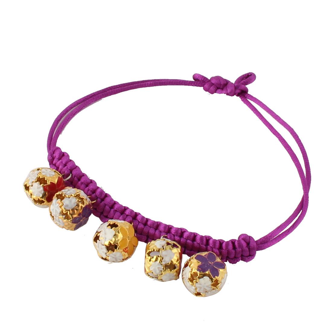 Pet Dog Nylon Braided Rope Strap Flower Pattern Bell Pendant Decor Adjustable Belt Necklace Collar Bracelet