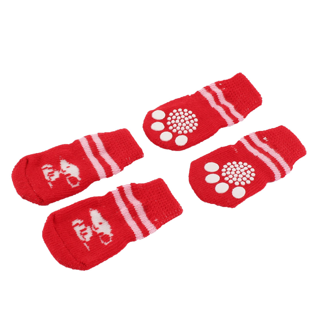Cotton Paw Printed Elastic Knitted Warm Skid Bottom Pet Dog Socks 2 Pairs