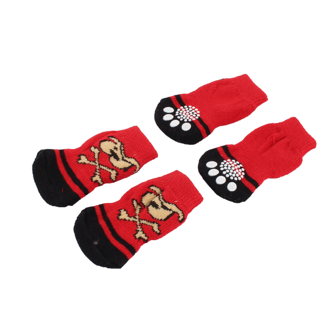 Indoor Cotton Paw Printed Anti-slip Elastic Knitted Skid Bottom Pet Dog Socks 2 Pairs
