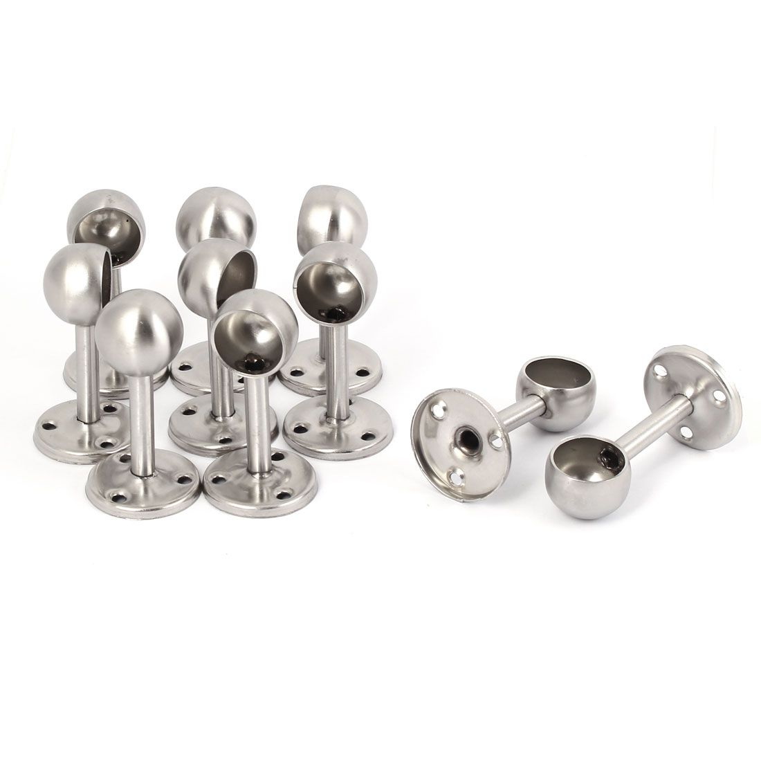 22mm Dia Stainless Steel Wardrobe Curtain Clothes Rail Lever Support Bracket 10pcs