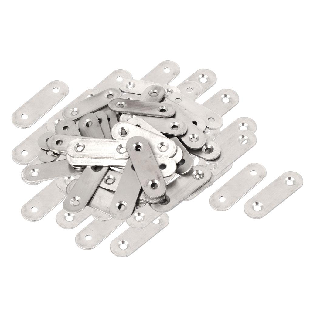 Metal Flat Repair Joining Brace Mending Fixing Plate 50mmx16mmx2mm 80pcs