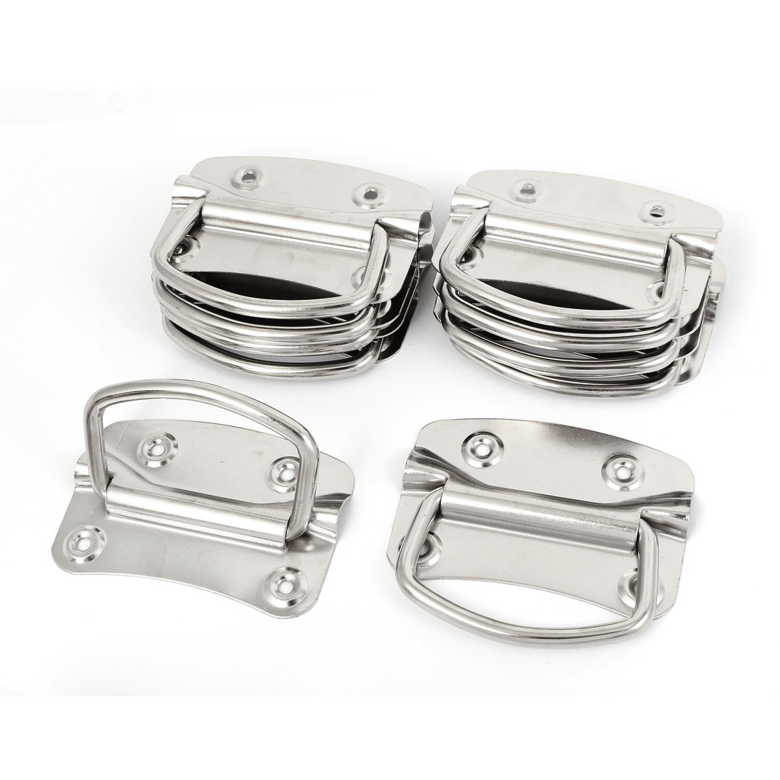 "Metal Toolbox Crates Boxes Puller Chest Handle Silver Tone 4"" Length 10pcs"
