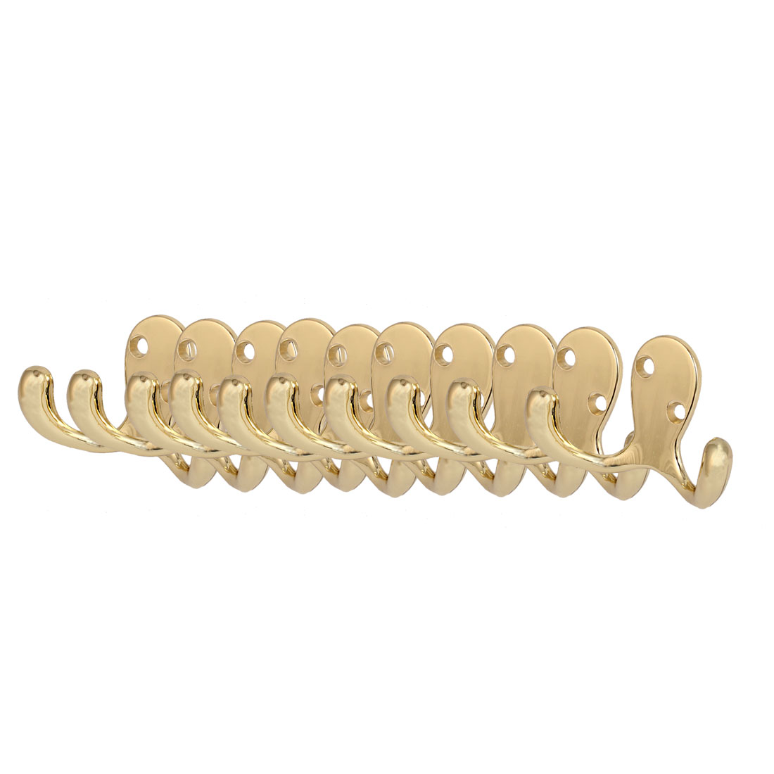 Zinc Alloy Wall Mount Robe Coat Hat Double Hook Hanger Gold Tone 10pcs
