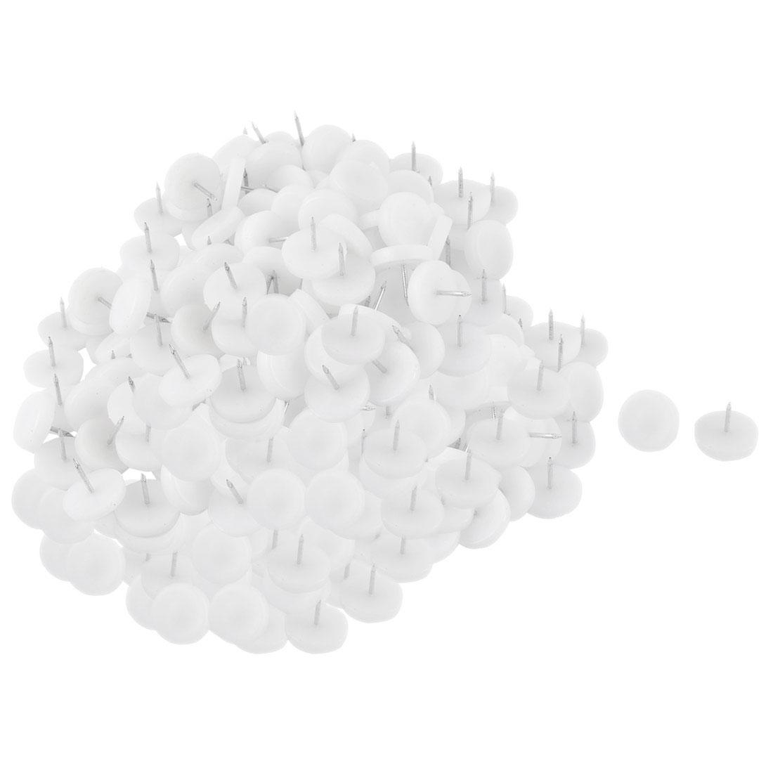 24mm Dia Nylon Head Furniture Chair Table Feet Protector Glide Nail White 100pcs