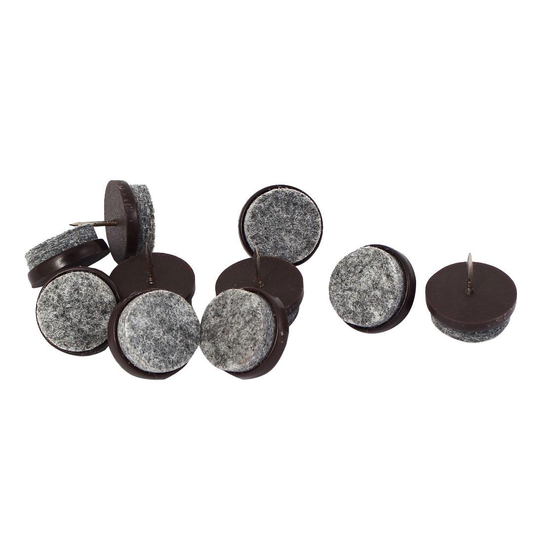 Nail In Anti-Skid Furniture Pads Felt Floor Protector Brown 24mm Dia 10pcs