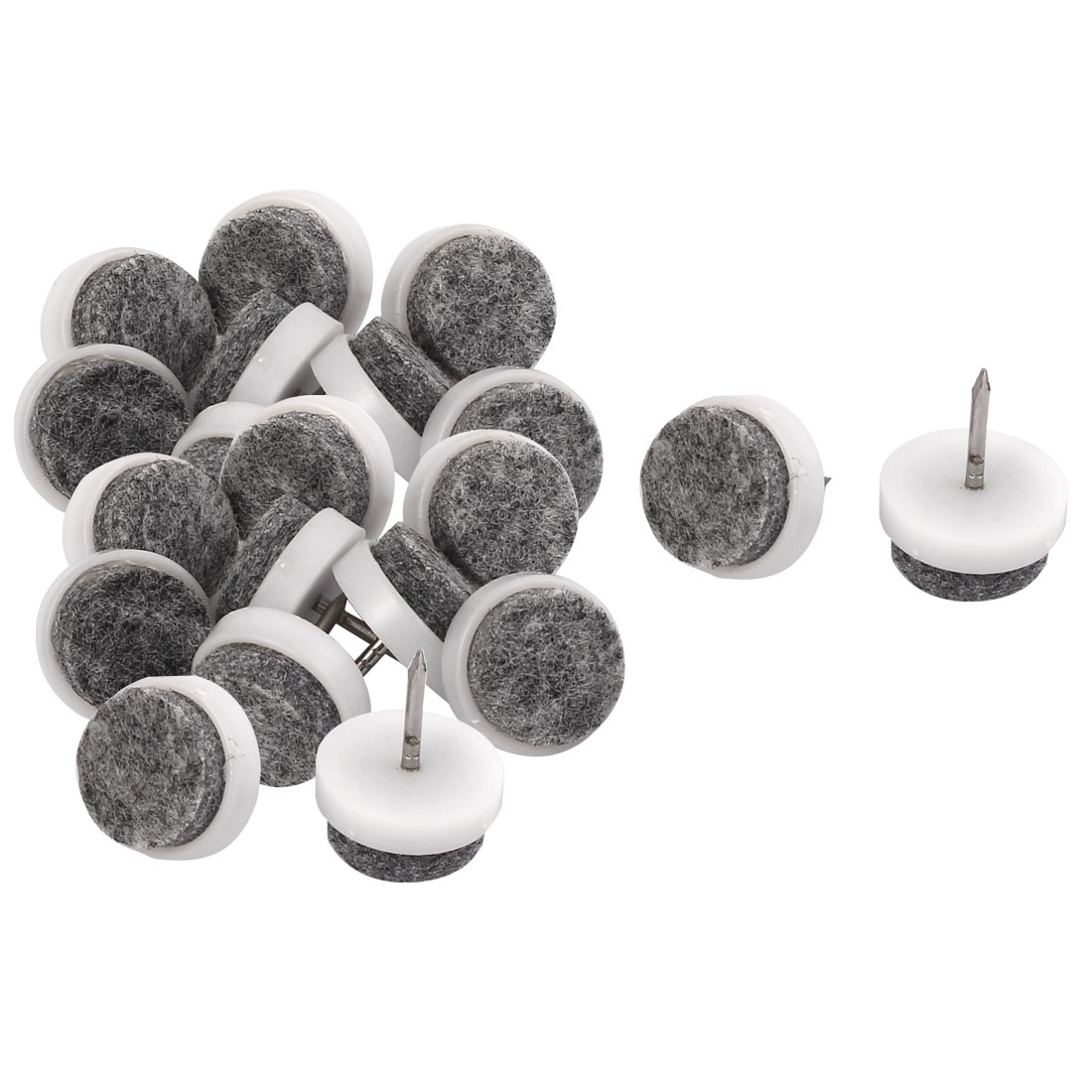 Round Anti Slip Furniture Leg Felt Pad DIY Nail Floor Protector 17mm Dia 20pcs