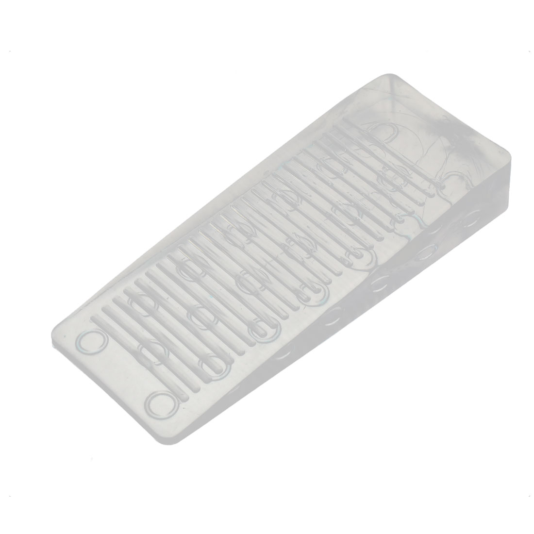 Home Office Clear Rubber Door Wedge Stopper Block 98x40x15mm