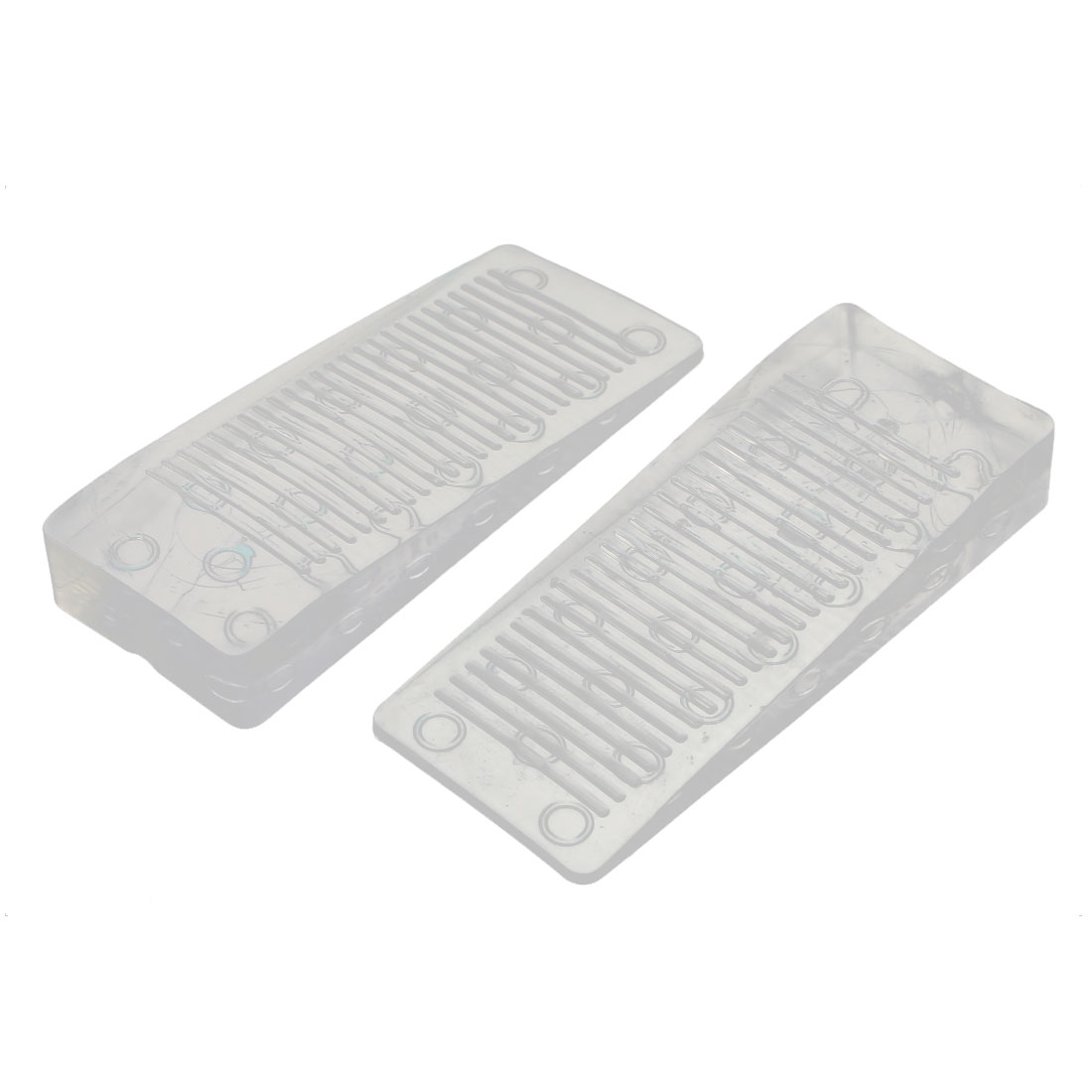 Home Office Clear Rubber Door Wedge Stopper Block 98x40x15mm 2pcs