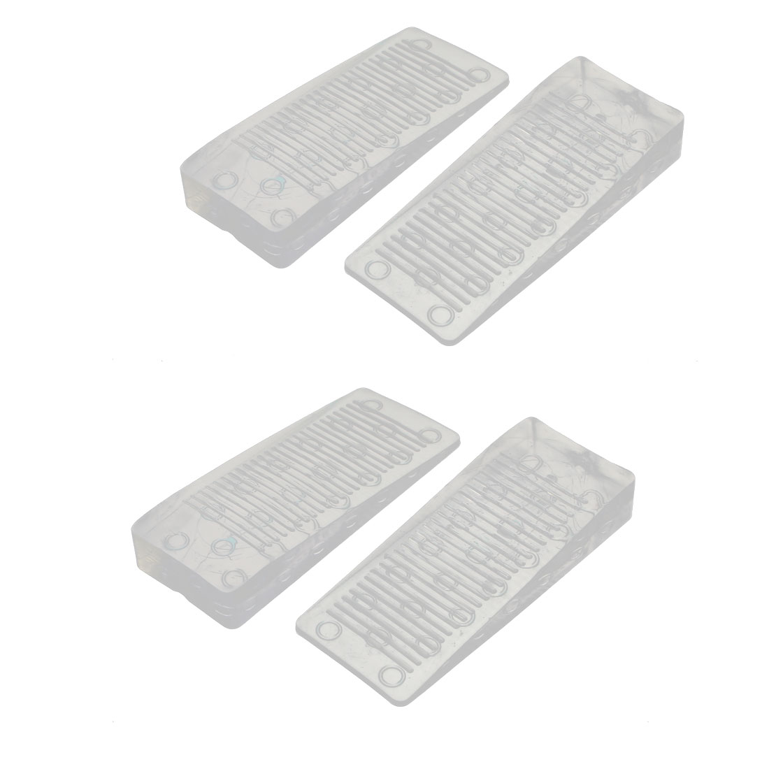 Home Office Clear Rubber Door Wedge Stopper Block 98x40x15mm 4pcs