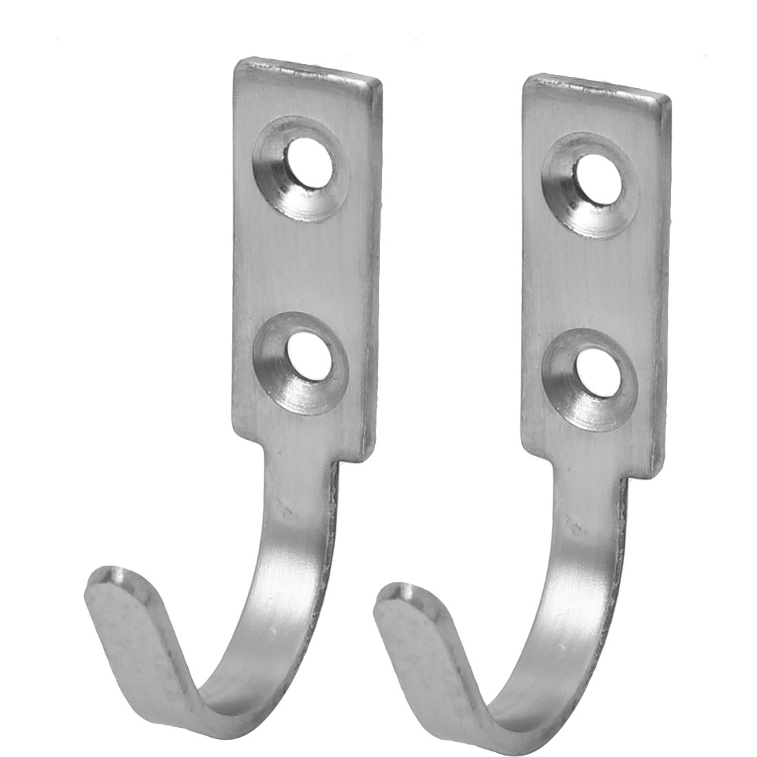 Door Wall Mounted Single Hook Clothes Towel Hanger Holder 60mm Length 2pcs