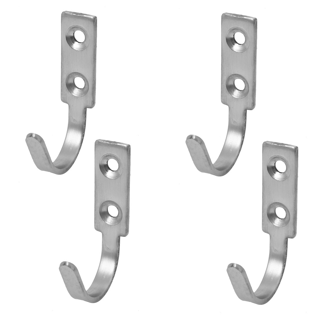 Door Wall Mounted Single Hook Clothes Towel Hanger Holder 60mm Length 4pcs