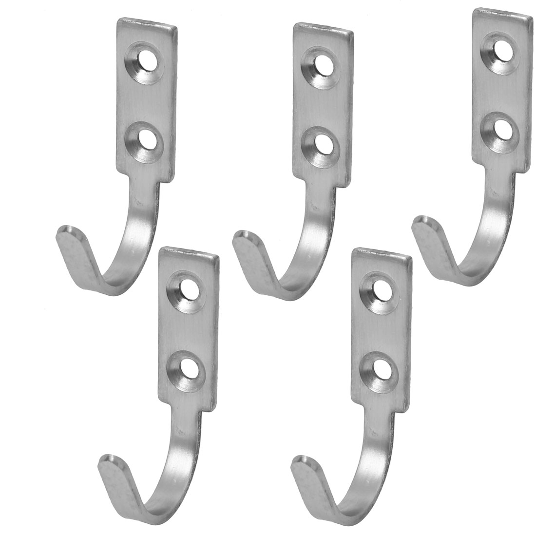 Door Wall Mounted Single Hook Clothes Towel Hanger Holder 60mm Length 5pcs