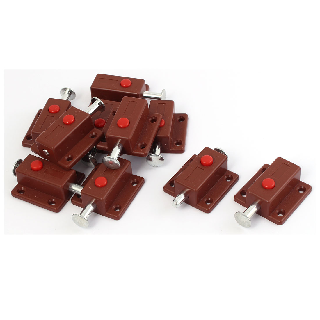 Cupboard Door Button Control Automatic Barrel Bolt Latch Lock Brown 10pcs
