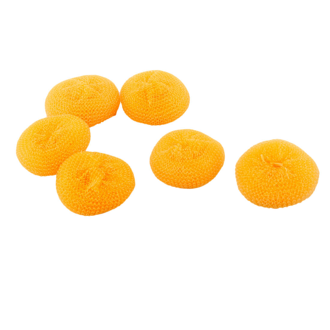 Kitchen Plastic Dish Bowl Pan Wash Clean Ball Brush Scrubber Cleaner Yellow 6pcs