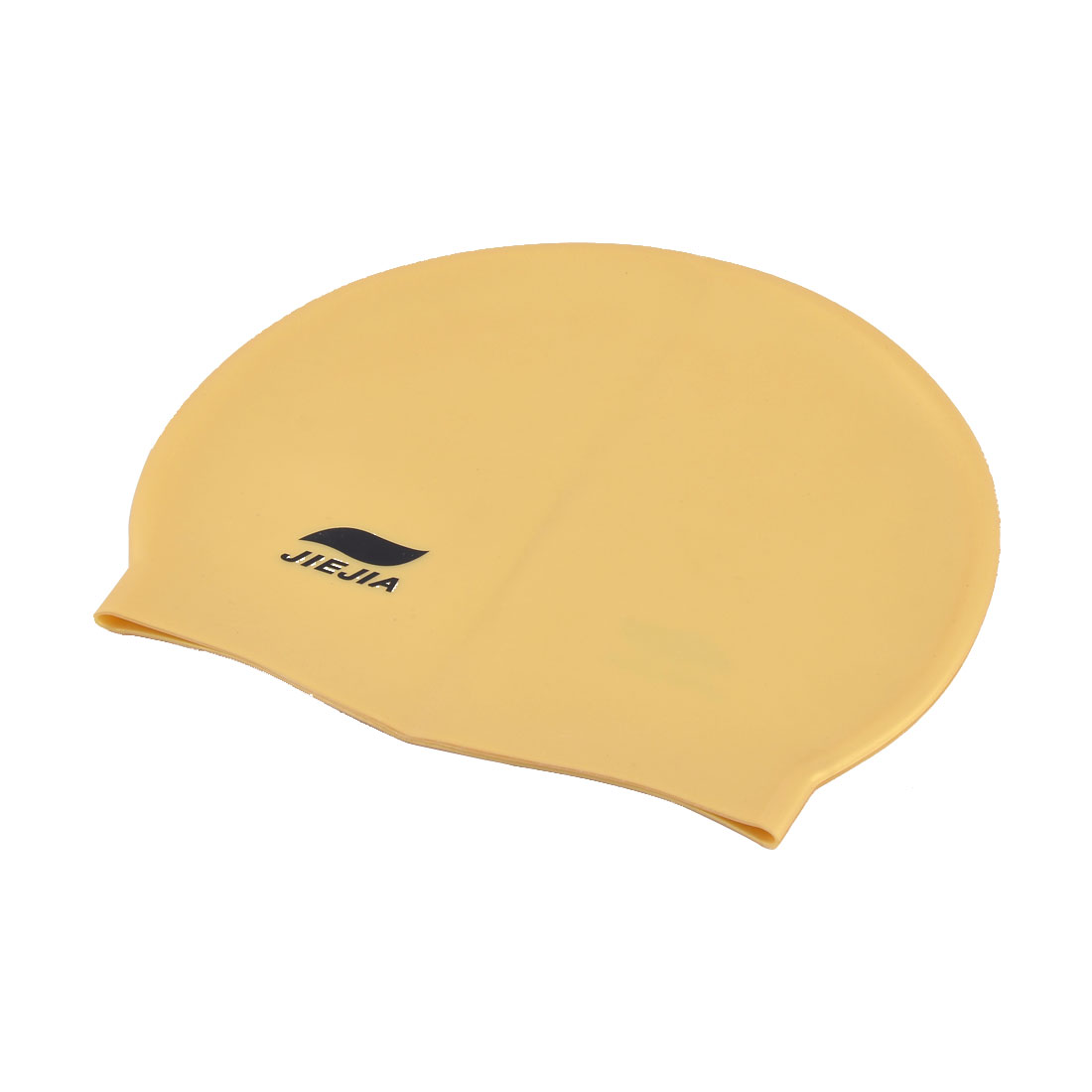 Adults Nonslip Silicone Elastic Swimming Surfing Diving Hat Cap Gold Tone Black