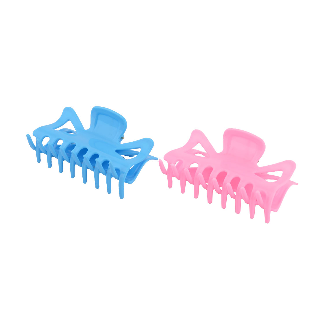 Woman Lady Plastic Hair Spring Clip Claw Clamp Ponytail Holder 2 Pcs