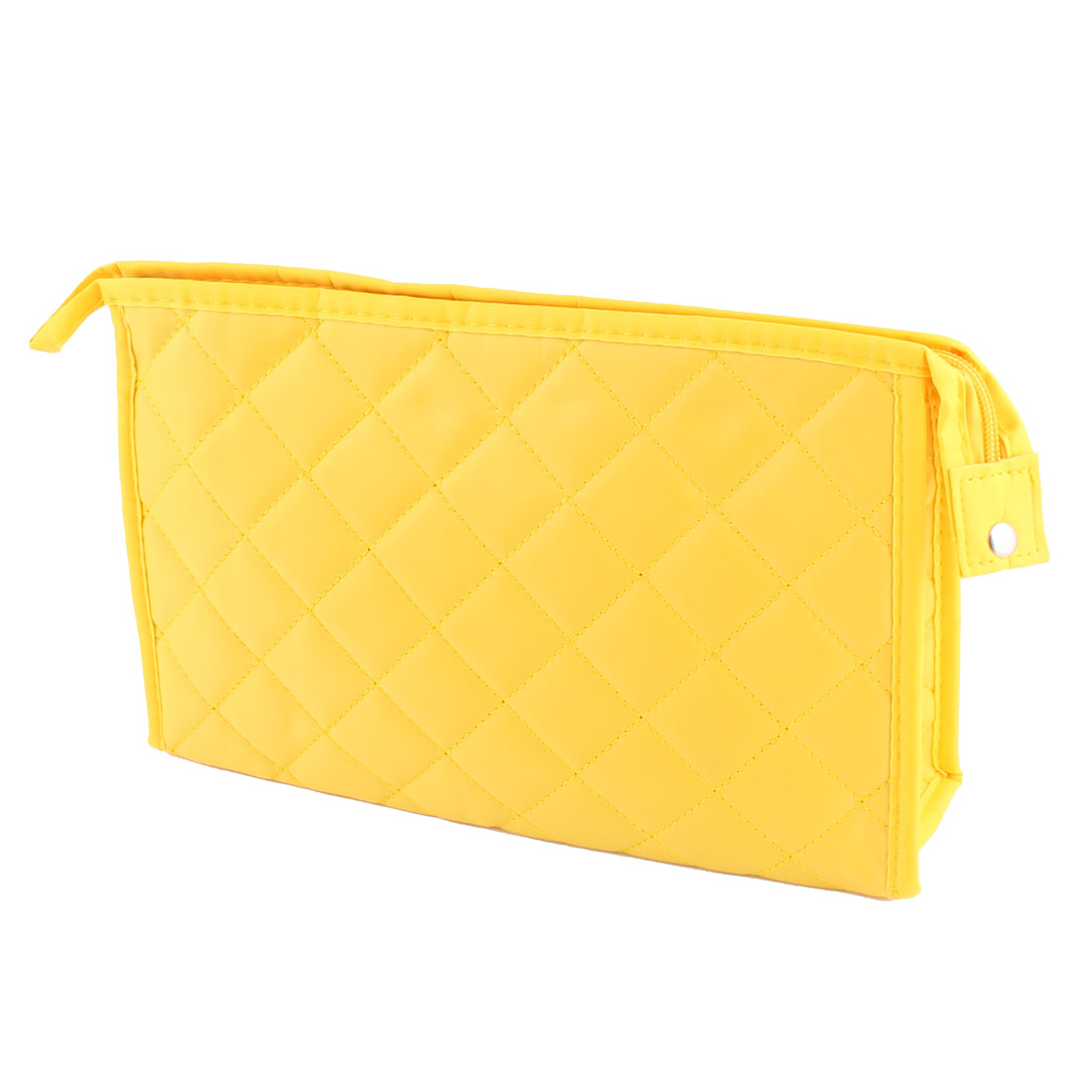 Lady Polyester Rhombus Pattern Zippered Design Toiletry Holder Cosmetic Bag Organizer Yellow