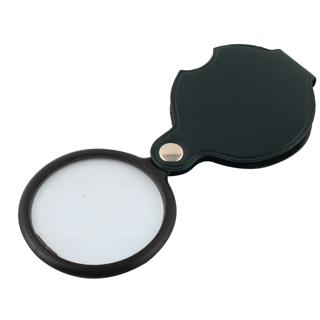 Faux Leather Cover Round Shaped Rotatable Handheld Magnifier 55mm Dia