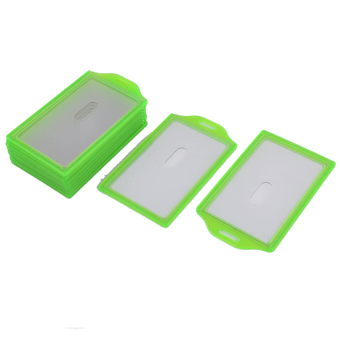 Exhibition Vertical Name Tag ID Badge Card Holders Container Green 10pcs