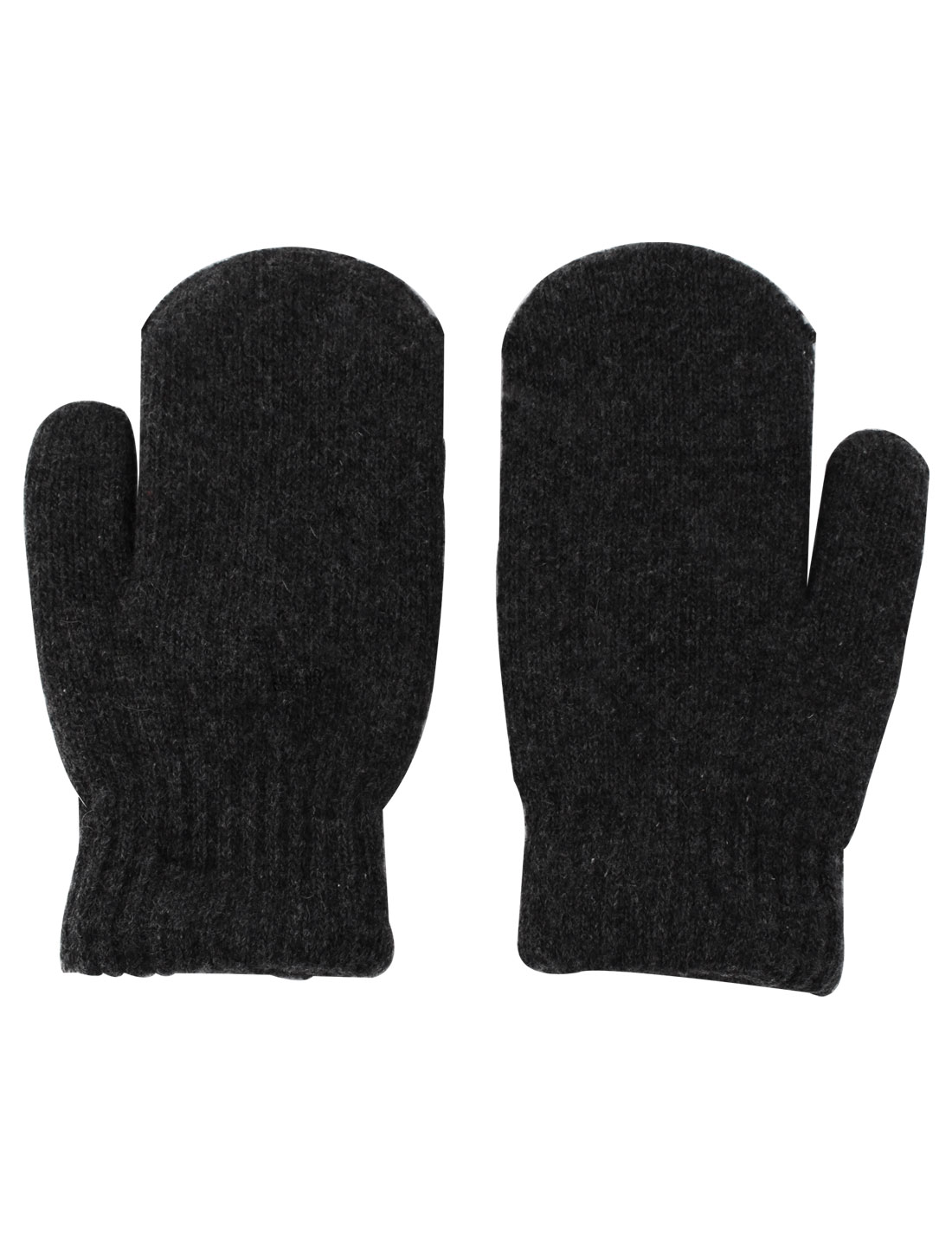 Acrylic Pure Unisex Winter Elastic Wrist Warmer Mitten Gloves Pair Black