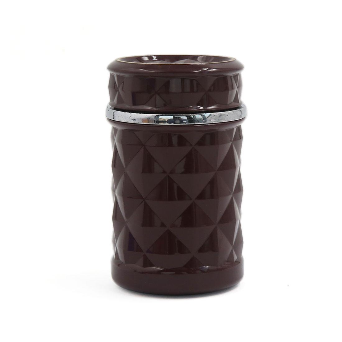 Portable Blue LED Light Ashtray Car Cigarette Ash Cylinder Holder Cup Burgundy