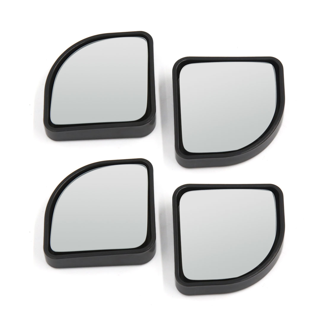 Universal Fits Car Wide Angle Convex Rearview Blind Spot Mirror Black 4pcs