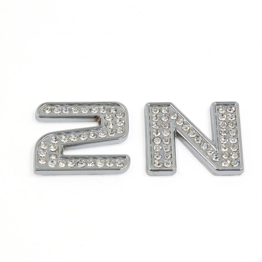 Metal Clear Faux Rhinestone Decor N2 Design 3D Stickers Emblem Decals for Car Motorcycle