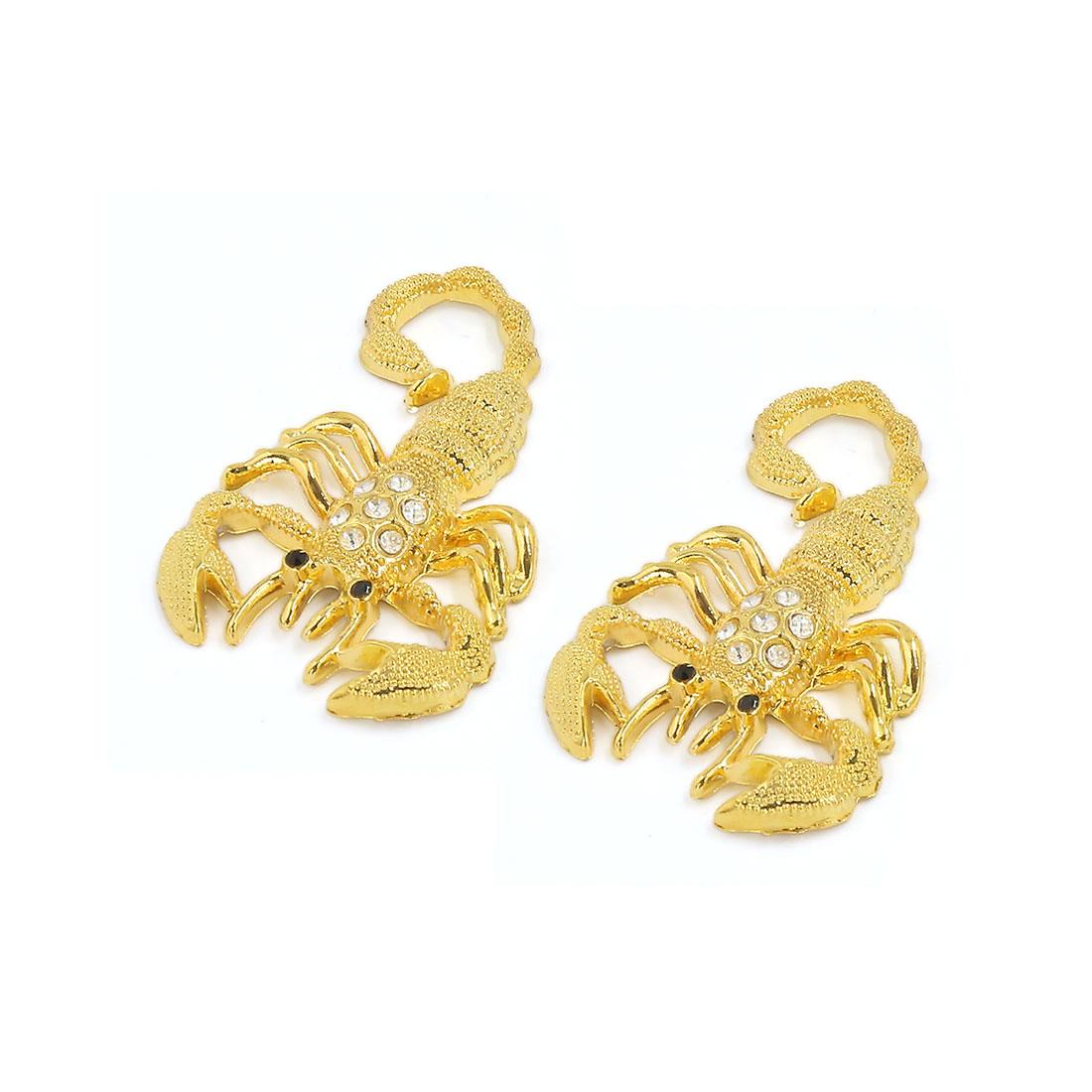 Gold Tone Metal 3D Faux Crystal Decor Scorpion Shape Adhesive Sticker Decal 2pcs