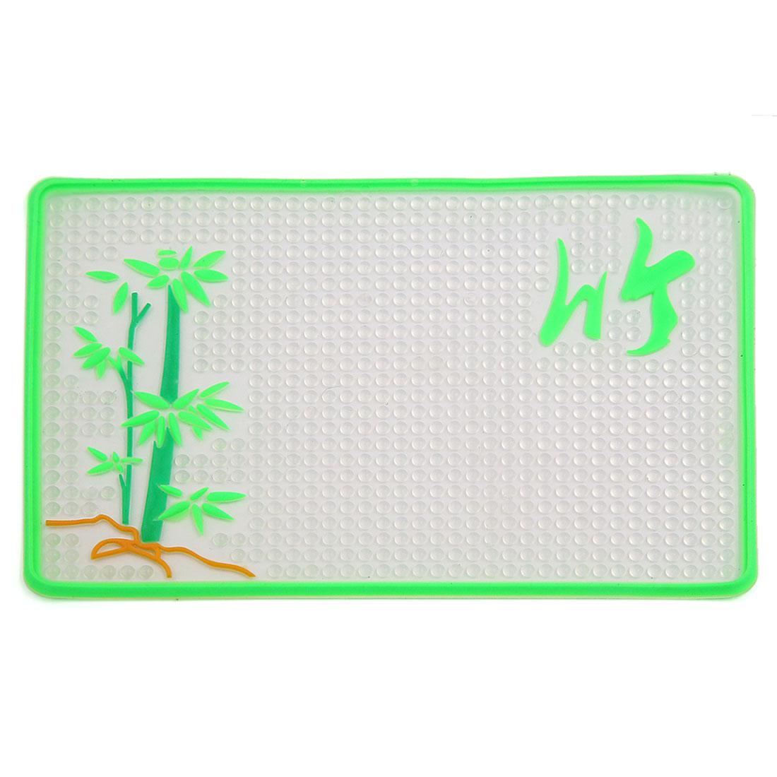 Green Bamboo Pattern Car Magic Anti-Slip Dashboard Sticky Pad Non-slip Mat GPS Phone Holder 20cm x 13cm