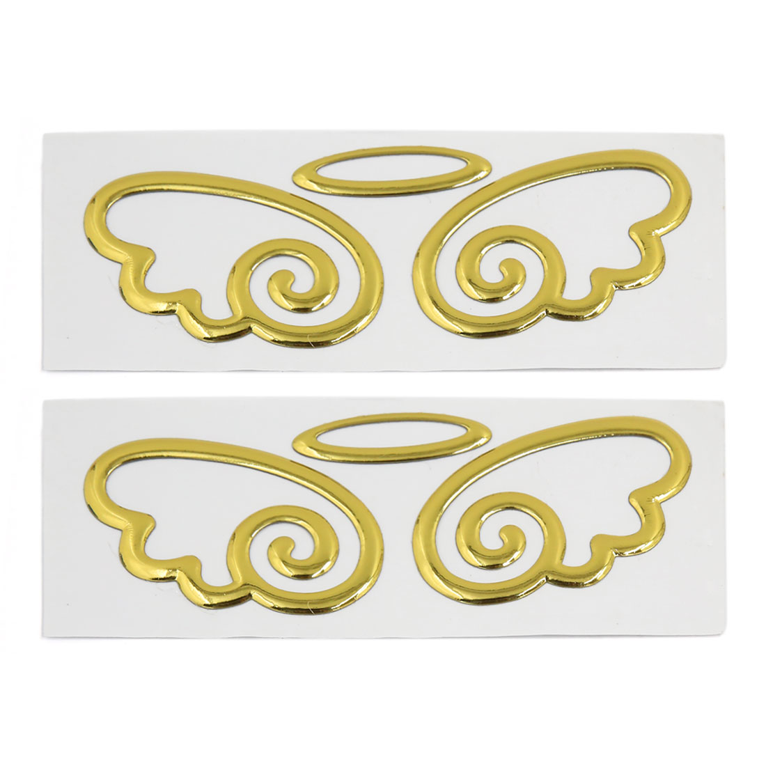 Gold Tone 3D Wing Shaped Stick-on Decorative Sticker Graphic Decals 2pcs for Car