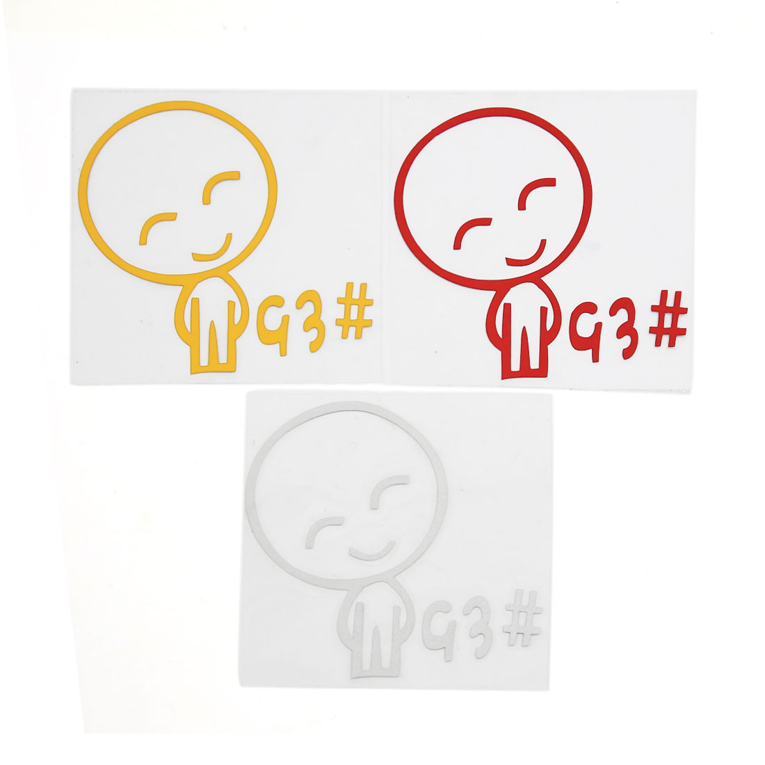 White Red Yellow Smiling Person Pattern Car Fuel Tank Cap Sticker Decal 3pcs