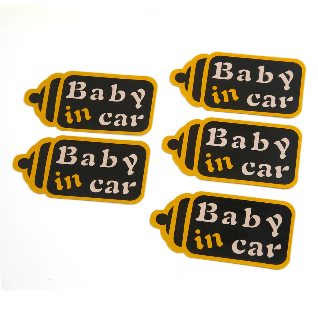 5pcs Baby in car Pattern Stickers Self-adhesive Graphic Decal Adorn 115mm x 60mm