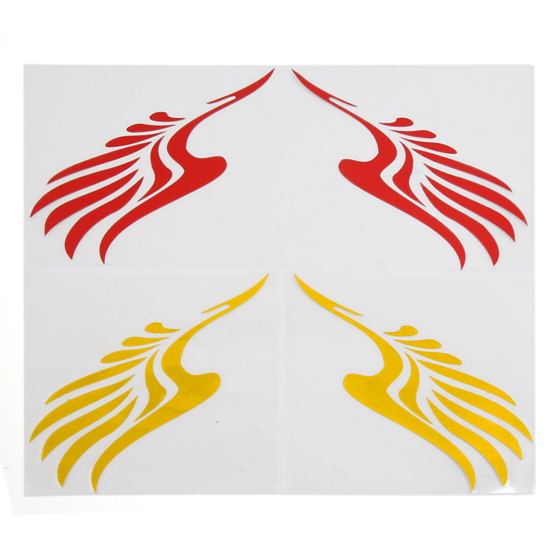 4pcs Yellow Red Vinyl Stickers Wing Printed Reflective Decal for Rearview Mirror