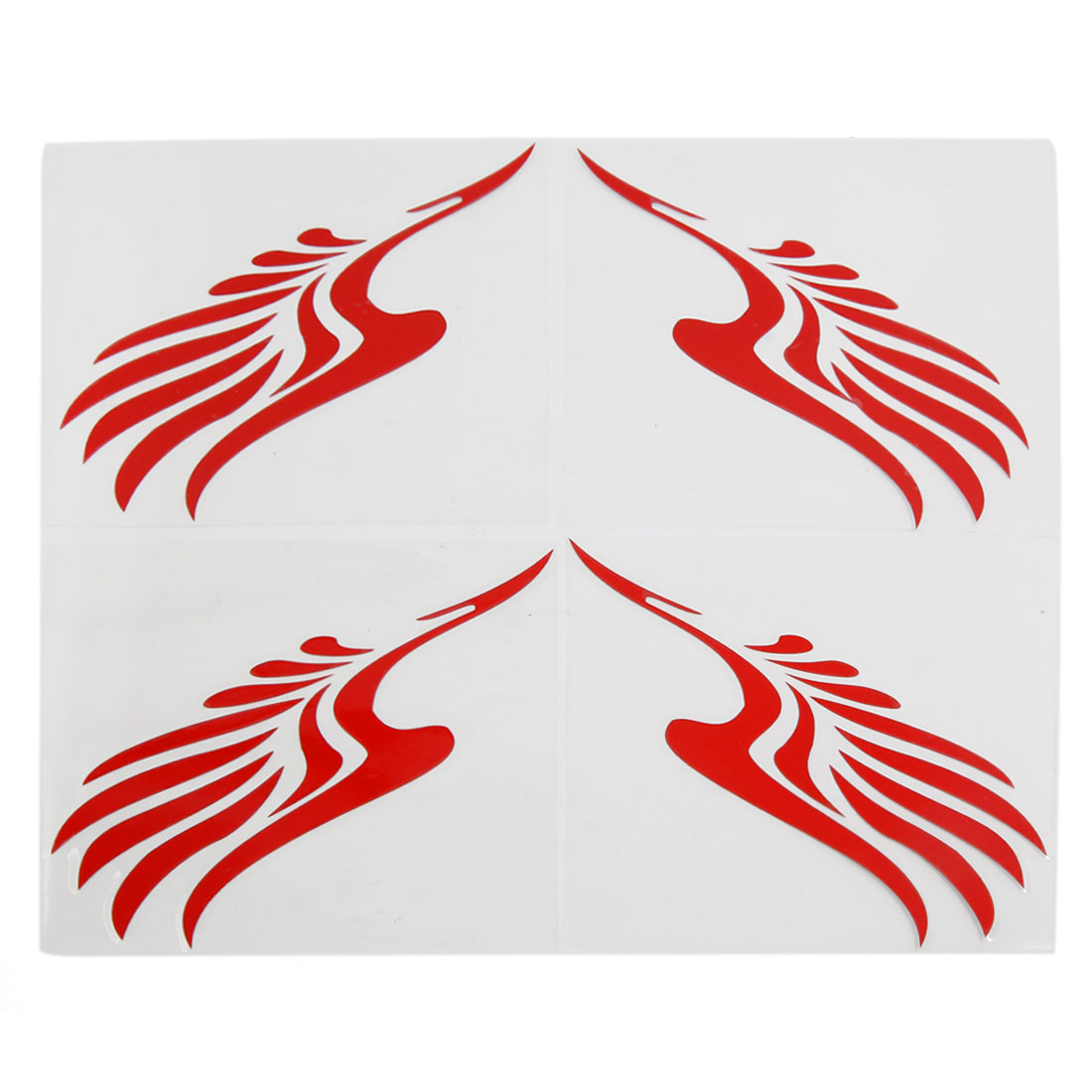 4pcs Red Vinyl Car Side Rear View Mirrors Wing Printed Stickers Decal 11.5cm x 11.5cm