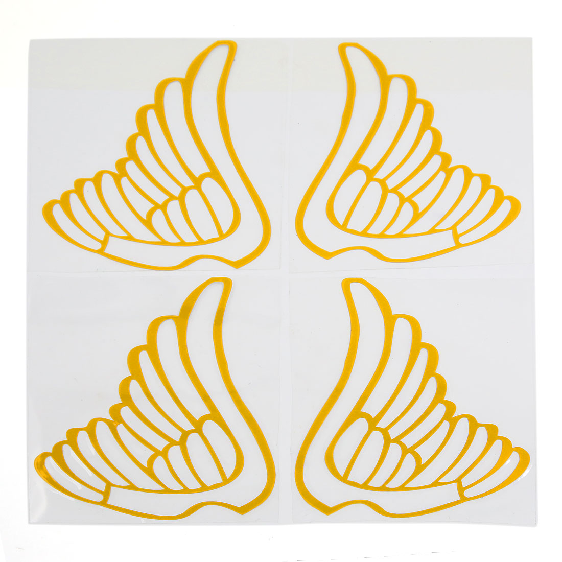 Car Rear View Mirrors Adhesive DIY Stickers Wing Pattern Decal Adron Yellow 4pcs