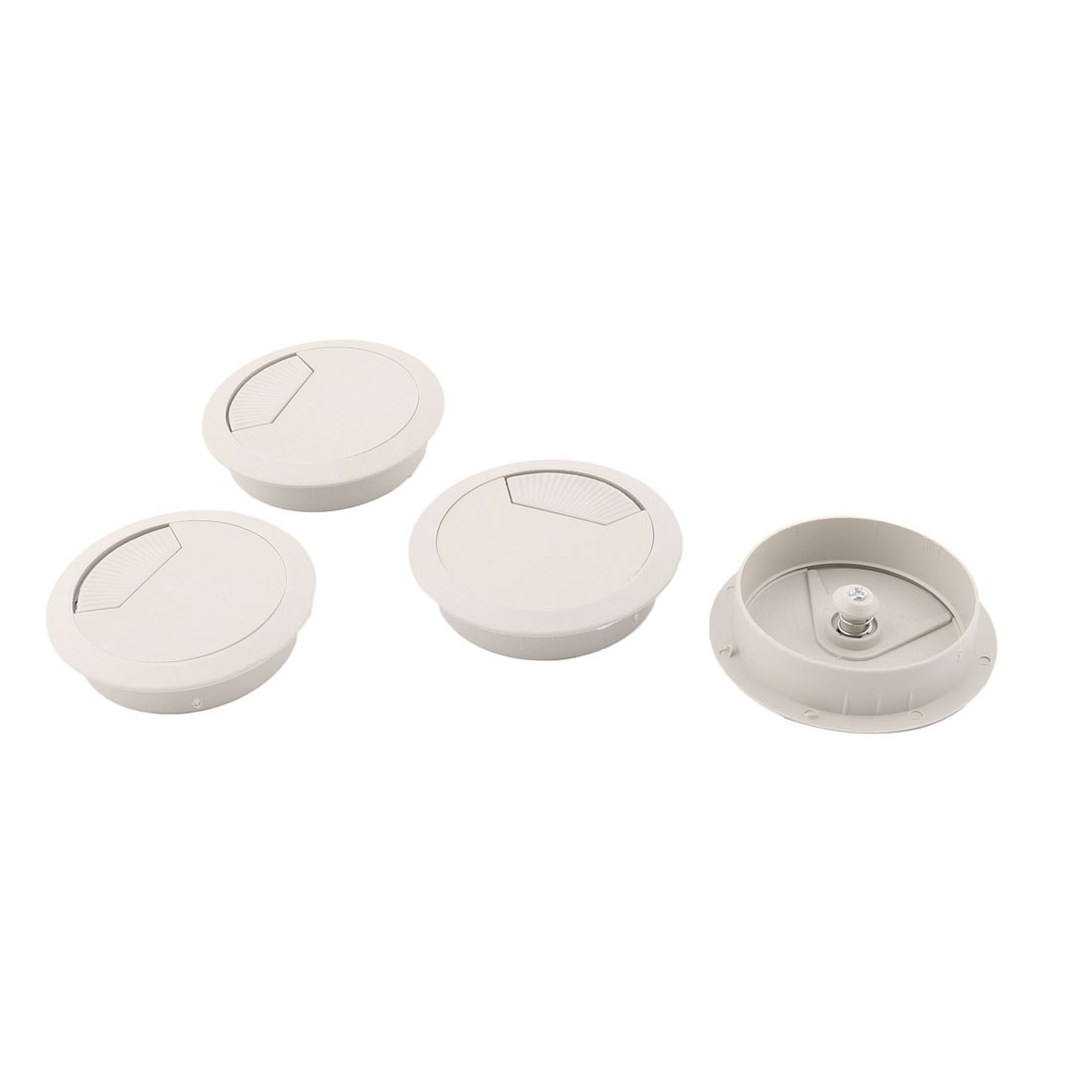 Computer Desktop Plastic Round Wire Outlet Grommet Cable Hole Cover Off White 4 PCS